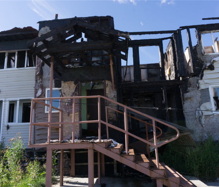 exterior of burned apartment