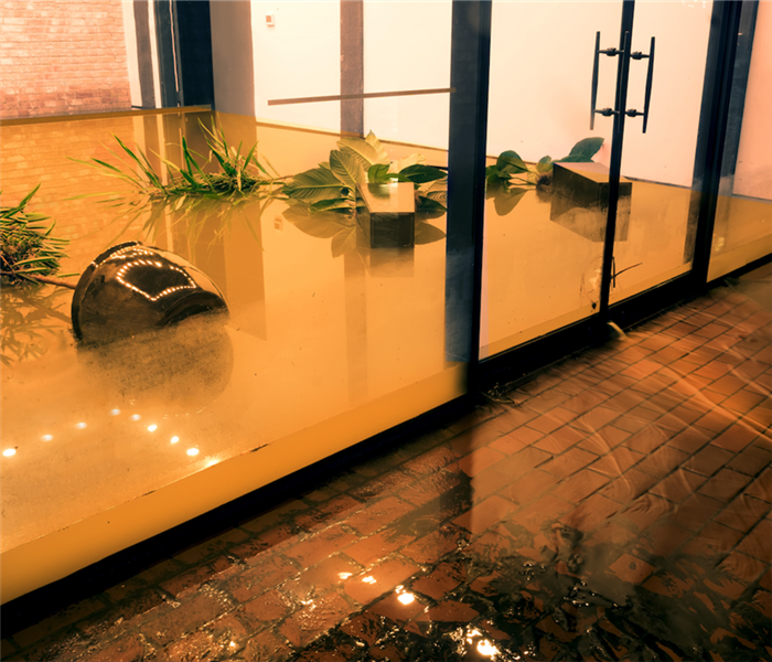 water damage in building lobby
